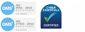 Cyber Essentials Certified | QMS ISO-9001 - Registered 2015 | QMS ISO-27001 - Registered 2013