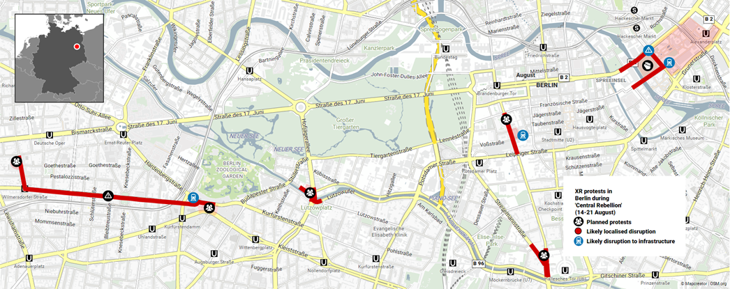 """The map below shows the locations most likely to be impacted by protests in Berlin during the """"Central Rebellion"""". To access the interactive version, click here"""
