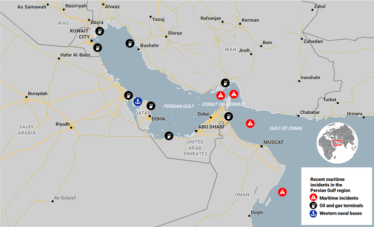 Figure 1: An interactive map showing select high-impact maritime incidences in the Persian Gulf region (Ctrl + click to access map)